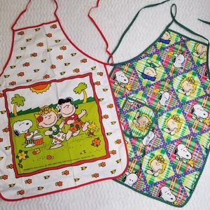 Peanuts Snoopy Apron Adult Lot of 2 Green White